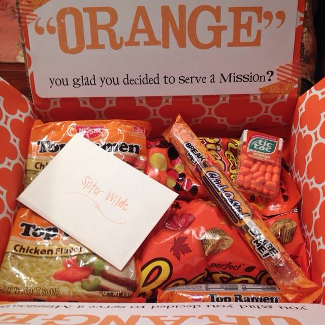Mom sanity mormon missionary care package ideas orange goodies negle Images
